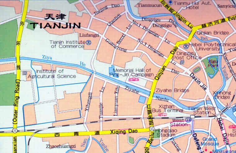Travel Map of Tianjin City, China