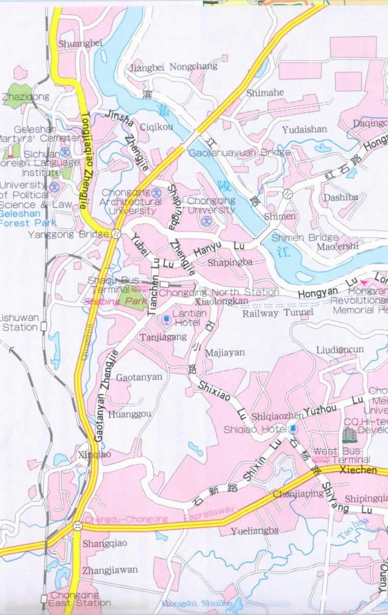 Travel Map of Chongqing City, China