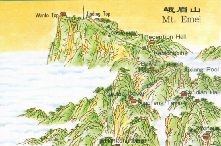 Map of Emei Mountain, Sichuan China