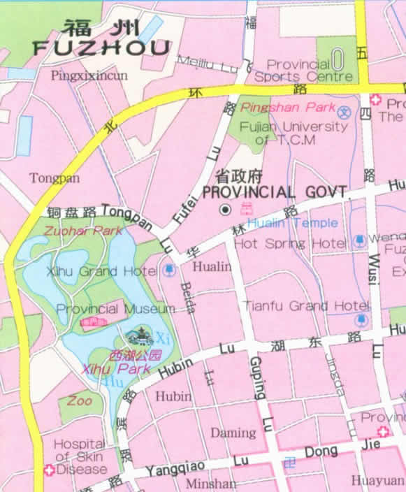Map of Fuzhou, Fujian province, China