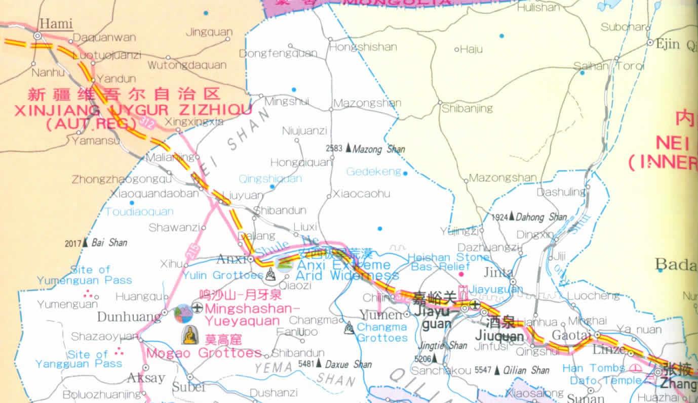 Gansu China Map.Map Of Gansu Province China