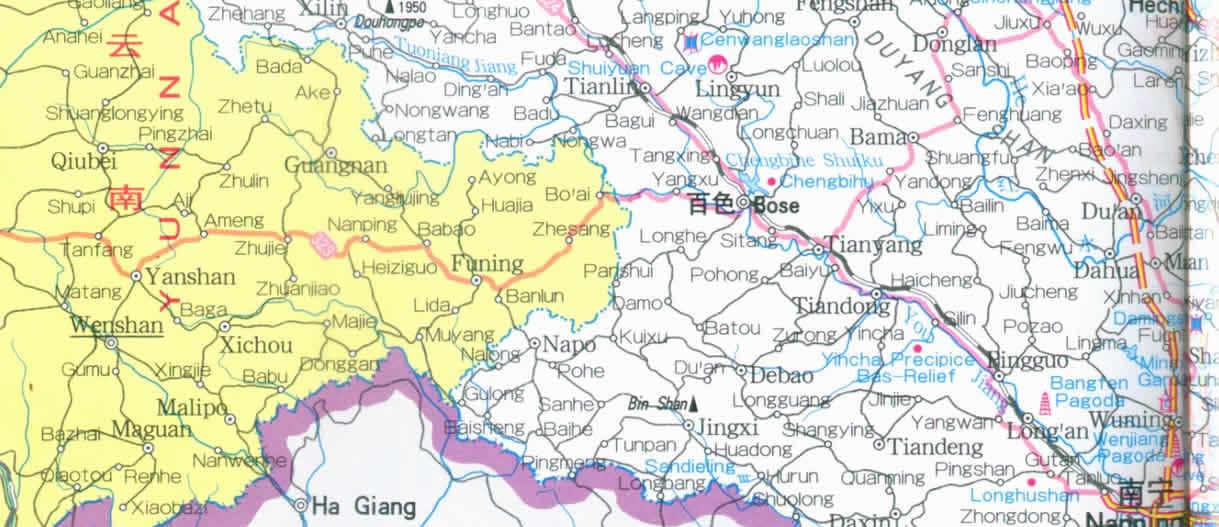 Travel Map Of Guangxi Zhuang Autonomous Region China - Haicheng map
