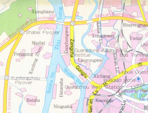 Map of Guangzhou, Guangxong Province, China
