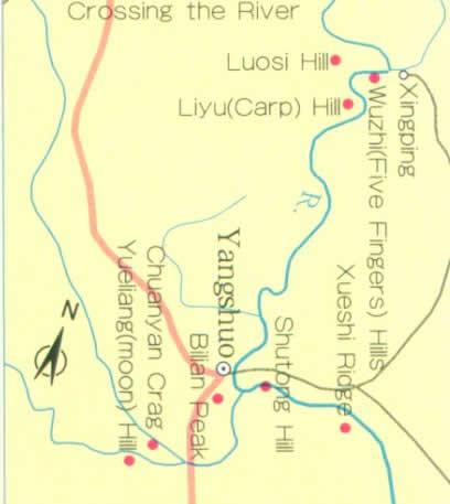 Map Of Li River Guilin China