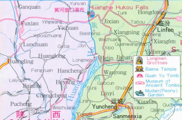 Travel Map of Henan Province, China