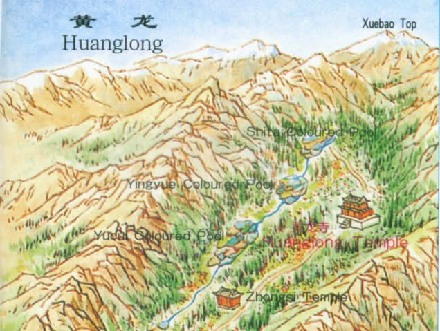 Map of Huanglong, Sichuan Province, China
