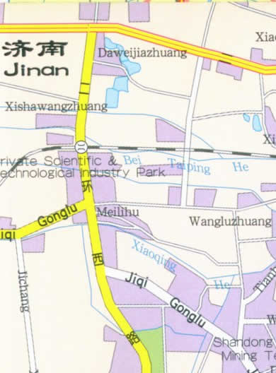 Map of Jinan, Shandong Province, China