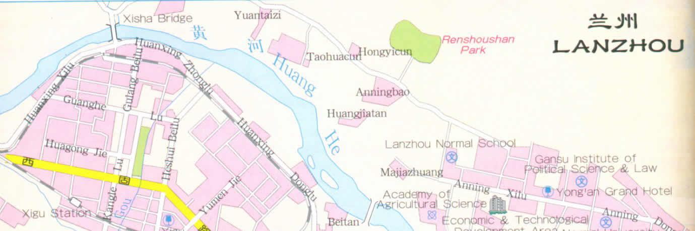 Map of Lanzhou City, China