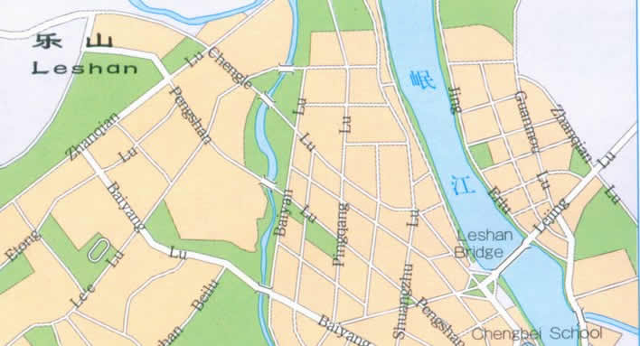Map of Leshan, Sichuan China