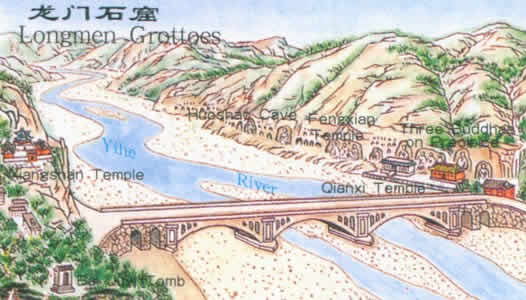 Map of Longmen Grottoes