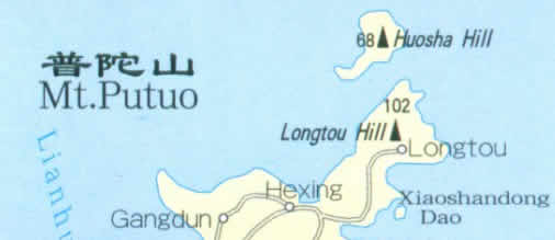 Map of Putuo Mountain, Zhejiang China