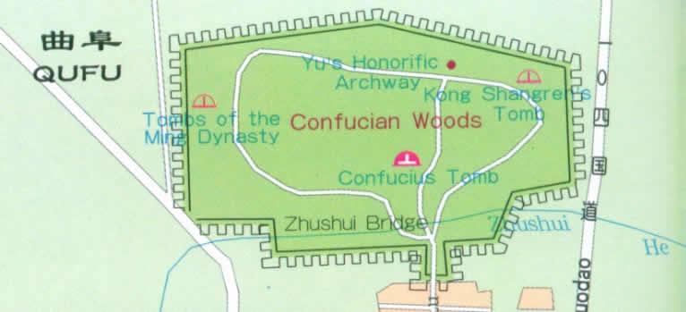 Travel Map of Qufu, Shandong China