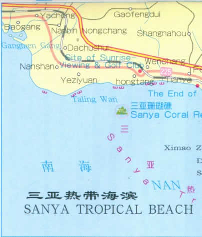 Map of Sanya Beaches, Hainan Island China