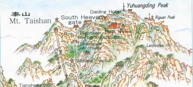 Map of Taishan Mountain, China