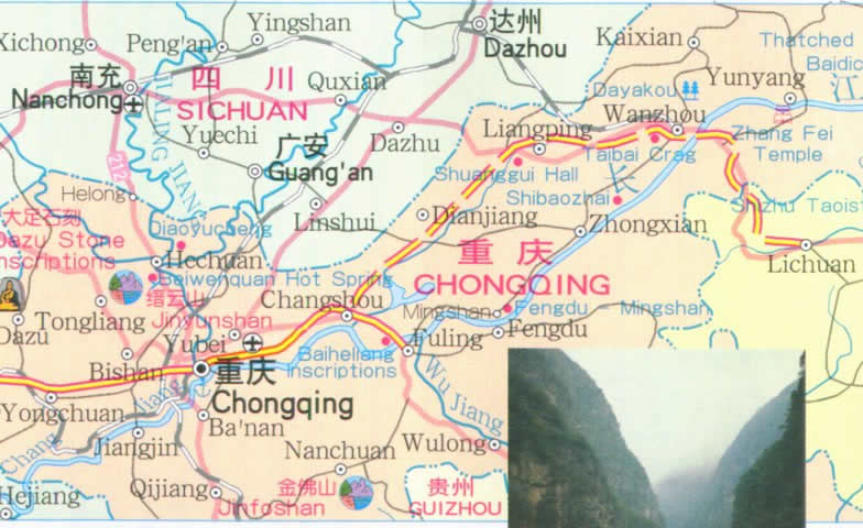 Travel Map of the Three Gorges on Yangtze River (Changjiang River)