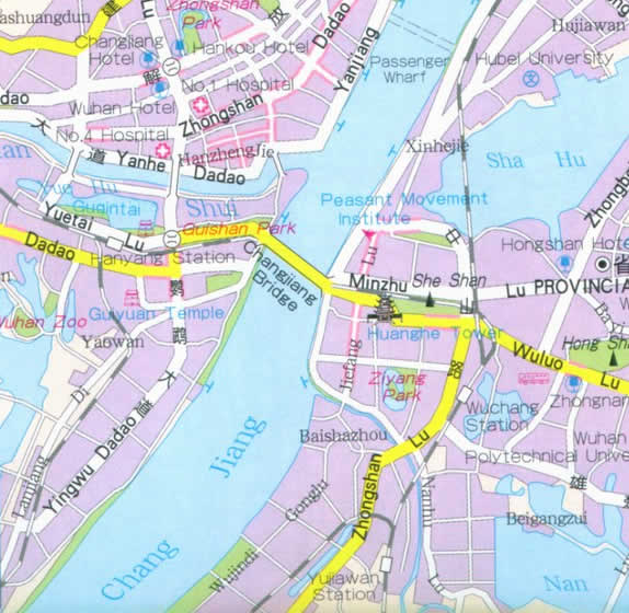 Map of Wuhan China