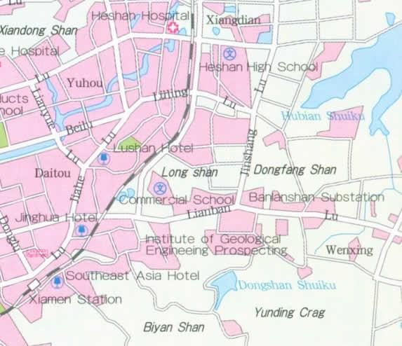 Travel Map of Xiamen Fujian Province China
