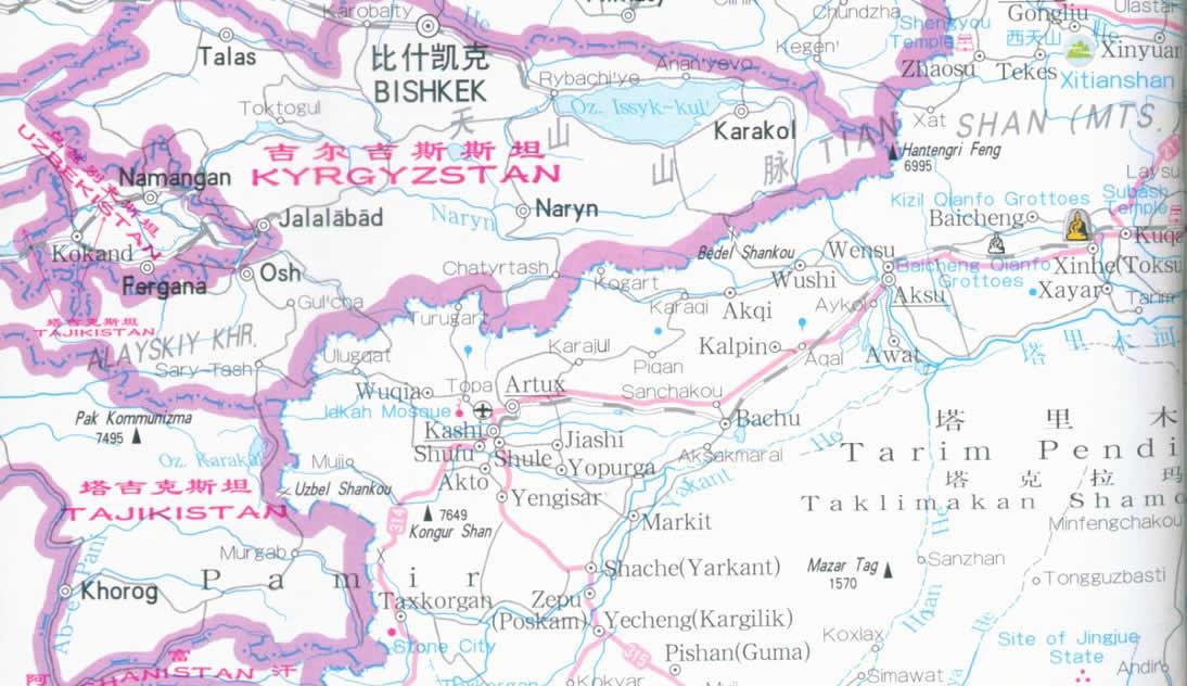 Map of Xinjiang Province China