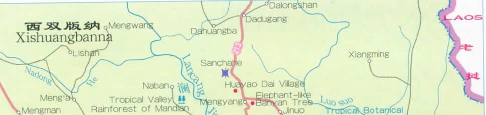 Map of Xishuangbanna - Yunnan China