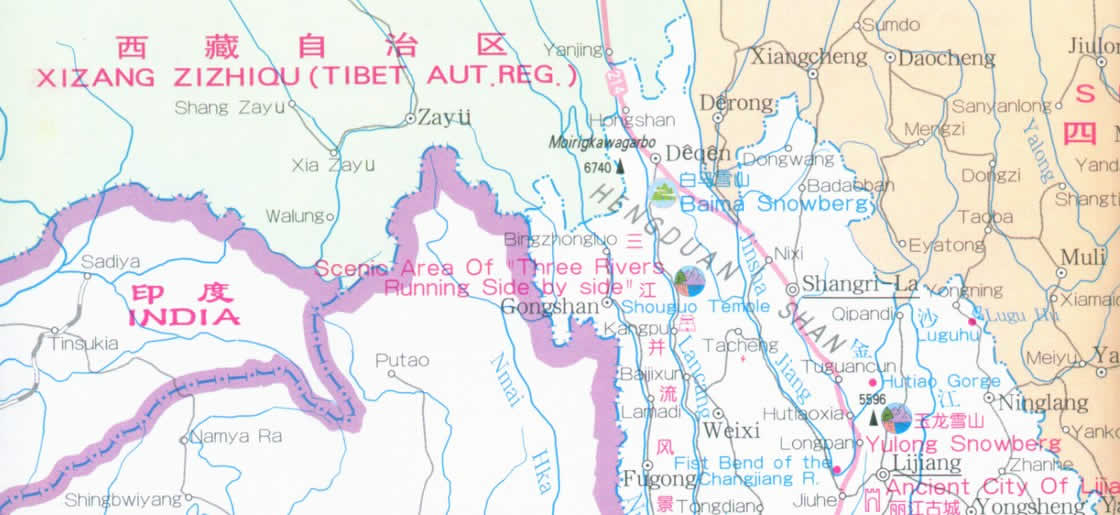 Map of Yunnan Province, China