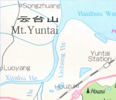 Map of Yuntai Mountain, Nanjing, China