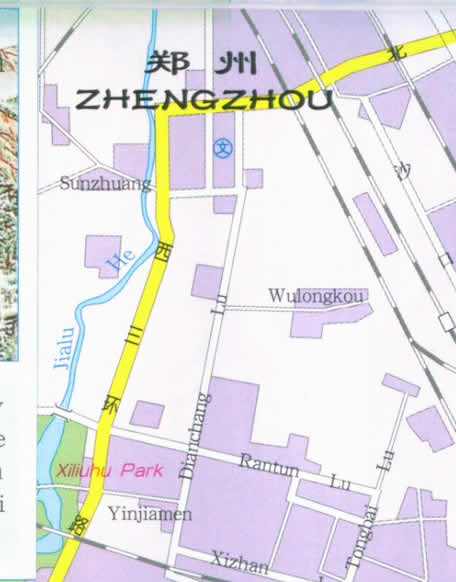 Map of Zhengzhou, Henan Province, China