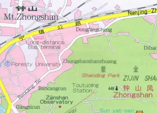 Map of Zhongshan Mountain Nanjing China
