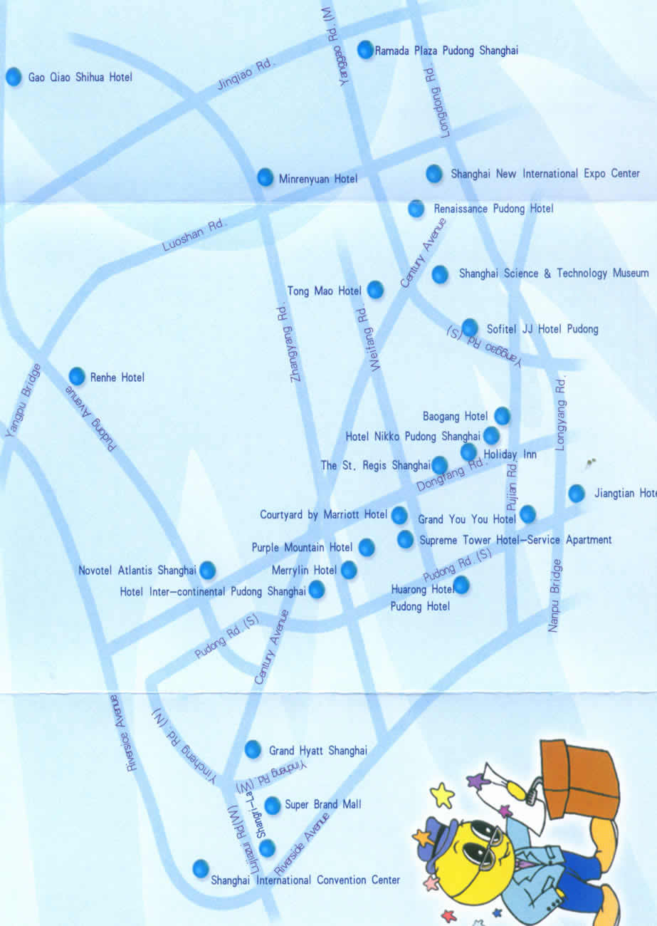 Pudong Hotels Map Pudong Recreation Map