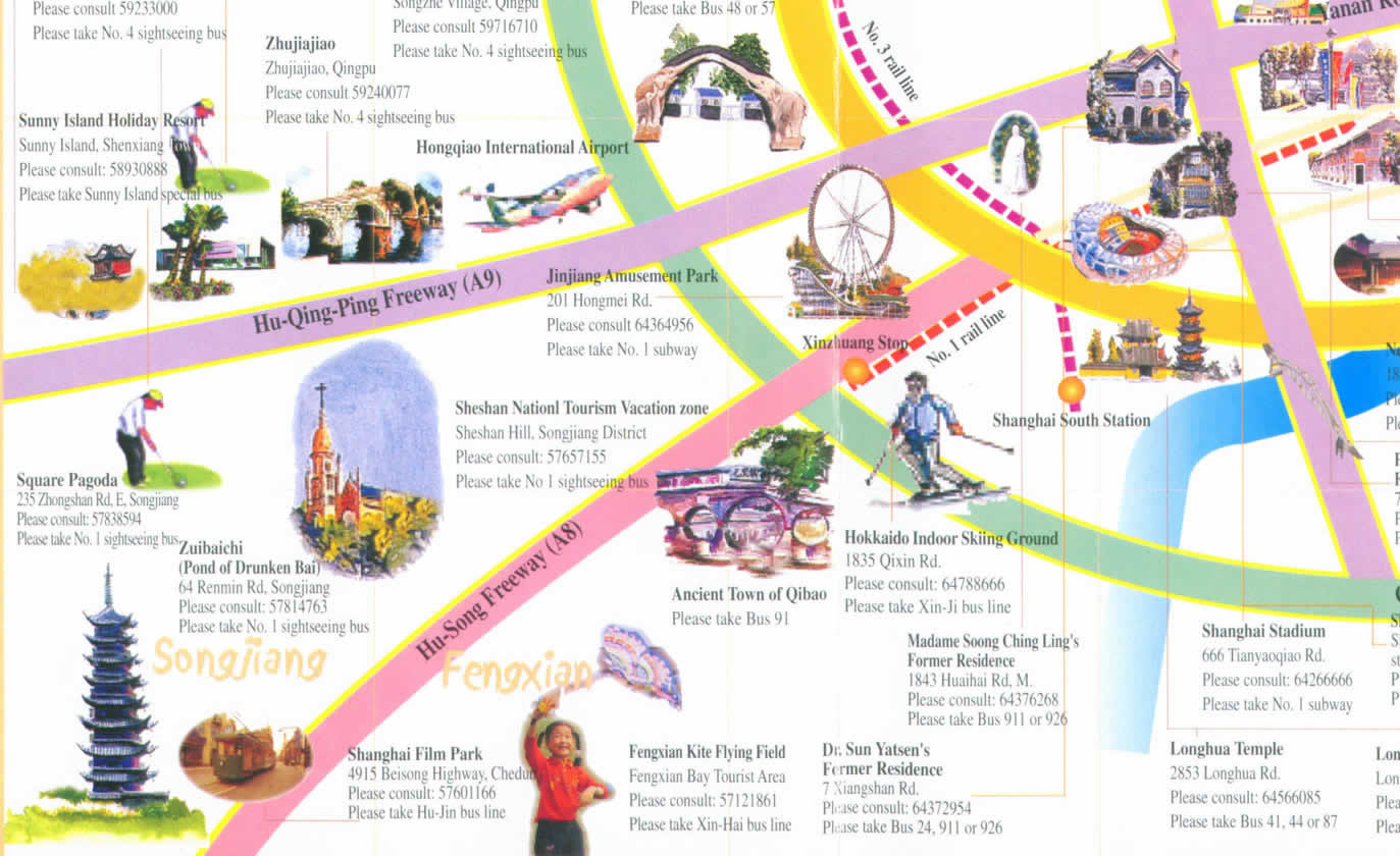 A complete Tourist map for Sightseeing in ShanghaiGuide to – Shanghai Tourist Attractions Map
