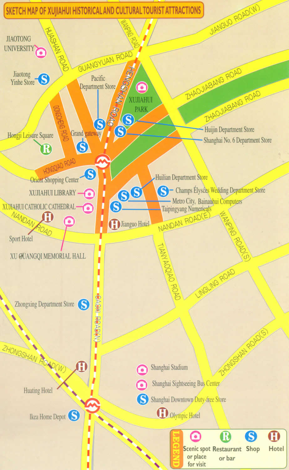 Sketch Map of Xujiahui History and Cultural Tourist attractions ...